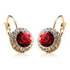 Multi-color Crystal Gold Plated Ear Stud Rhinestone Hoop Earrings Ear Clip