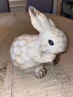 "Farmhouse Rustic Ceramic Easter Bunny 6"" figurine vintage Style New"