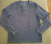 GUESS Men's V-Neck Long Sleeves T-Shirt Size L Blue Gray