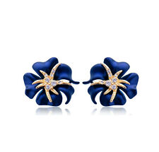 DARK Blue & GOLD STRASS STELLA MARINA Borchie Orecchini donna gioielli e554