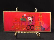 Vtg 1970's Hallmark Christmas Card Hot Pink Embossed Santa in a Train