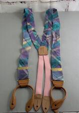 Cole Haan Pastel Purple / Pink Plaid Suspenders Vintage