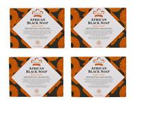 4 x Nubian Heritage - African Black Soap Bar (With Oats, Aloe & Vitamin E) 141g