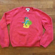 Lilly Pulitzer Girls Pink Pullover Sweater Size 6X Parakeet Bird Cotton
