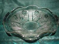 Vintage Iris Herringbone Depression Clear Glass Large Bowl
