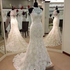 Halter White Ivory Lace Mermaid Train Custom Noble Wedding Bridal Gown Dresses