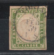 FRANCOBOLLI 1859 SARDEGNA 5 C. VERDE GIALLO Z/3929