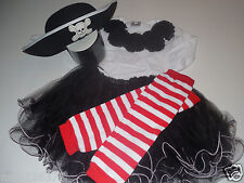 New Halloween costume pirate out fit tutu top leg warmers hat baby 12-18 months