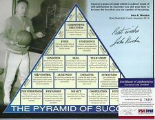 John Wooden Autographed 8x10 Pyramid of Success UCLA Bruin Basketball Coach PSA