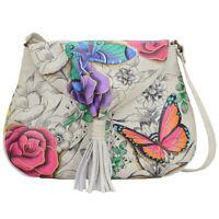 Anuschka Leather Hand Painted Flap Hobo Anna Art Floral Paradise