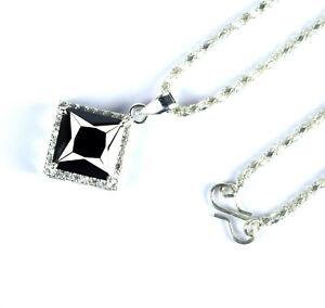 Black Diamond 9.43 Ct  Solitaire Sterling Silver Pendant