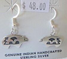 NEW Sterling Silver Bear Fetish Earrings by HOPI Esther White Signed 2.1 Grams