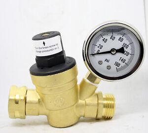 "3/4"" Lead-Free Brass Adjustable Water Pressure Regulator RV Reducer w/Gauge"