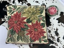 "Newport Poinsettia Holly Christmas Holiday 16"" Square Pillow"
