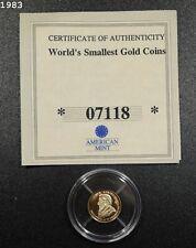 "2005 Liberia $10 Dollar Worlds Smallest Gold Coins Krugerrand .5 Gram ""Proof"""