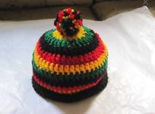 Rastafarian Baby Beanie Hat Cap Unisex Handmade Crochet 0-6 mo Reggae Jamaica
