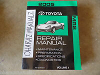 2005 TOYOTA MR2 Service Manual Volume 1Only!! OEM SEE PICS FOR SUBJECTS