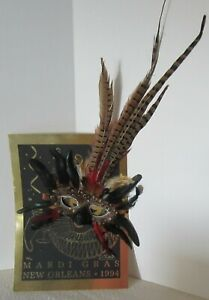 New Orleans Mardi Gras Mask Poster with Feathers Luttrell Signed and Numbered
