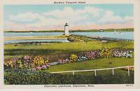 Edgartown MA Lighthouse on Martha's Vineyard Island Vintage Postcard