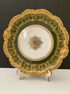 BEAUTIFUL  LIMOGES FRANCE GREEN WITH LACE  GILT GOLD CABINET PLATE