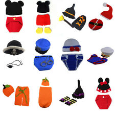 Newborn Baby Girl Boy Crochet Knit Costume Mickey Minnie Photo Prop Hat Outfits