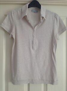 Nicole Farhi T Shirt / Top - Size Medium (uk 8 - 10) Preowned. Cream, Pale Beige