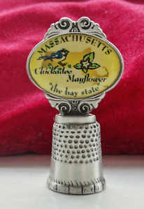 2002 Collectable Thimble by Rawcliffe Pewter  - Massachusetts, The Bay State
