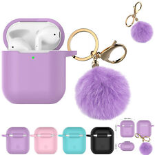 Airpods Silicone Charging Case Cover Fur Ball Keychain For Apple AirPods 1/2