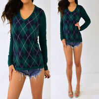 TOMMY HILFIGER Green Navy Blue Argyle Long Sleeve Knit Shirt Top S Small NWT
