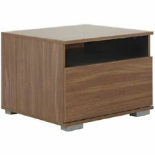 Walnut Compact Bedside Chest Table 1 Drawer Modular Base Storage Cubby Unit