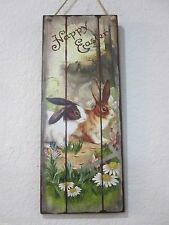 "Primitive Vintage Style Easter Wood Sign Decorations Rabbits ""Happy Easter"" NEW"