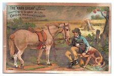 Boy feeding Horse, Karn Organ D.W. Karn & Co. Woodstock, ON Victorian Trade Card