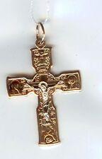 Russische Rose Rotgold 585 Anhänger Kreuz Orthodox .40mm Neu  Glänzend.