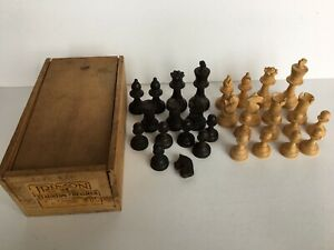 Vintage Fremont Staunton Wood Carved Chessmen Made in France Set 203