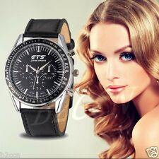 Fashion Women's Men's Classic Leather Stainless Steel Analog Quartz Wrist Watch