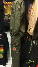 ARMY STYLE KHAKI GREEN COLOUR JACKET & TROUSER SUIT REGGAE RASTA ROOTS CULTURE