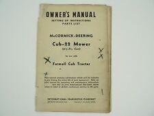 Cub-22 Mower Farmall Cub Tractor Owners Manual Parts List McCormick Deering 1947