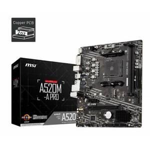 MSI A520M-A PRO AM4 AMD HDMI DVI-D M.2 microATX Motherboard Retail