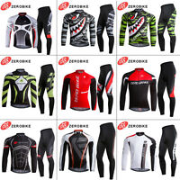Men's Sports Long Sleeve Cycling Jersey Outfits Bicycle Padded Pants Wear Sets