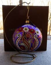 """Jay Strongwater Artisan Floral Paisley 4"""" Purple Glass Ornament New in Box"""