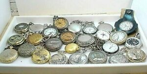 26 PC  POCKET PENDANT QUARTZ WATCH GROUP  for REPAIR PARTS  all UNTESTED  AS IS