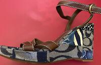 Coach Denim Brown Signature Patchwork Wedge Heels Ankle Strap Sandals 9.5
