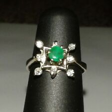 COLOMBIAN EMERALD & BRILLIANT CUT DIAMONDS CLUSTER RING 14KT SOLID WHITE GOLD