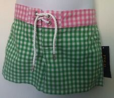 Ralph Lauren Girls Swim Board Shorts Green/Pink Gingham Pink Logo Size 6 NWT