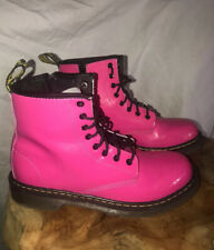 Dr. Martens Womens  Size 5 Delaney Pink Leather Ankle 5 Lace Up Zipper Shinny