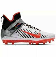 Nike Alpha Menace Pro 2 White/Black/Orange Chrome Finish AQ3209-101 SZ 10.5 Mens
