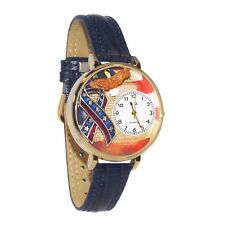 Whimsical Watches Women's American Patriotic Blue Leather Watch in Gold (Large)