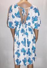 Unbranded Blue White Paisley Shirring Sun Dress One Size BNWT #SV66