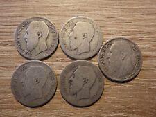 5 x 1 FRANC BELGE BELGIQUE BELGIUM argent Silver silber 1866 1867 (x2) 1887 1904