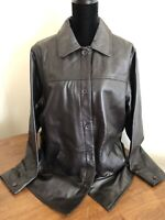 Centigrade Size Large Fully Lined 100% Lamb Leather Barn Jacket Dark Brown